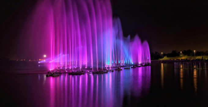 Lighted pond fountains